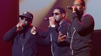 LOS ANGELES, CA - MARCH 26: Boyz II Men performs at Club Nokia on March 26, 2015 in Los Angeles, California. (Photo by Leon Bennett/WireImage)