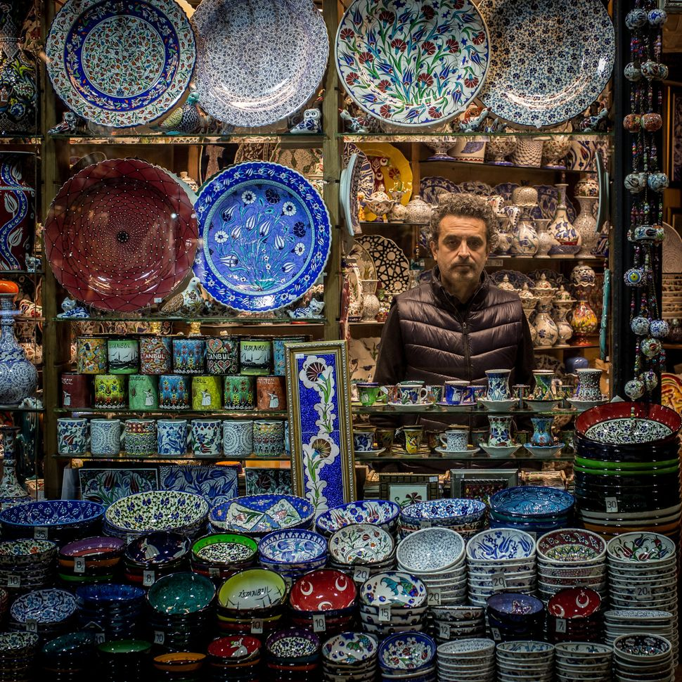 Ismail Genis sellstraditional ceramics and handmade tiles.