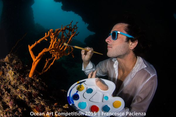 "1st Place, Pool-Conceptual: ""Francesco, the model, is an instructor of apnea ... I thought [the big sponge Axinella]&nbs"
