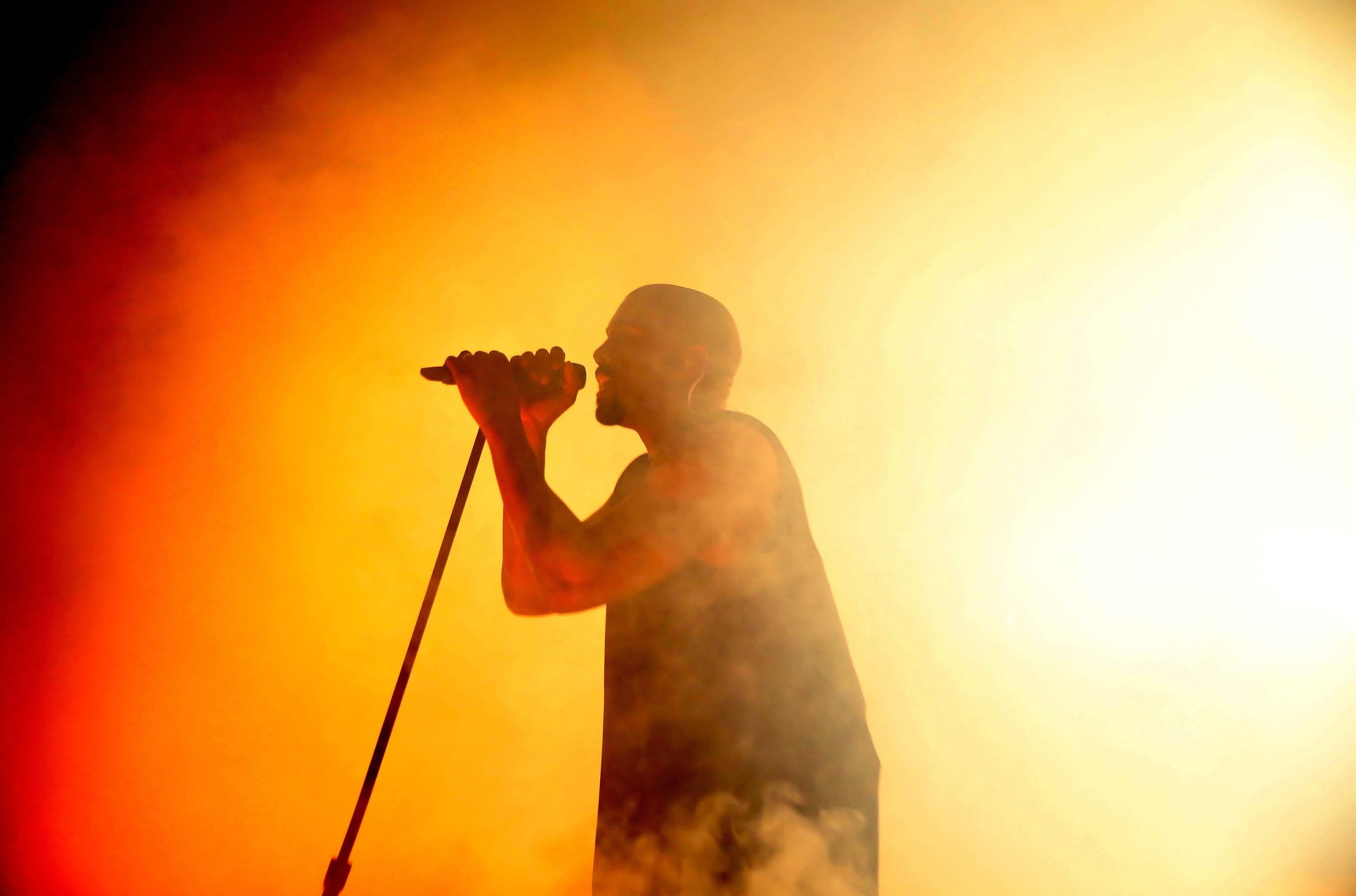 LOS ANGELES, CA - SEPTEMBER 24:  Rapper Kanye West performs onstage during the VIP sneak peek of the go90 Social Entertainment Platform at the Wallis Annenberg Center for the Performing Arts on September 24, 2015 in Los Angeles, California.  (Photo by Jonathan Leibson/Getty Images  for go90)