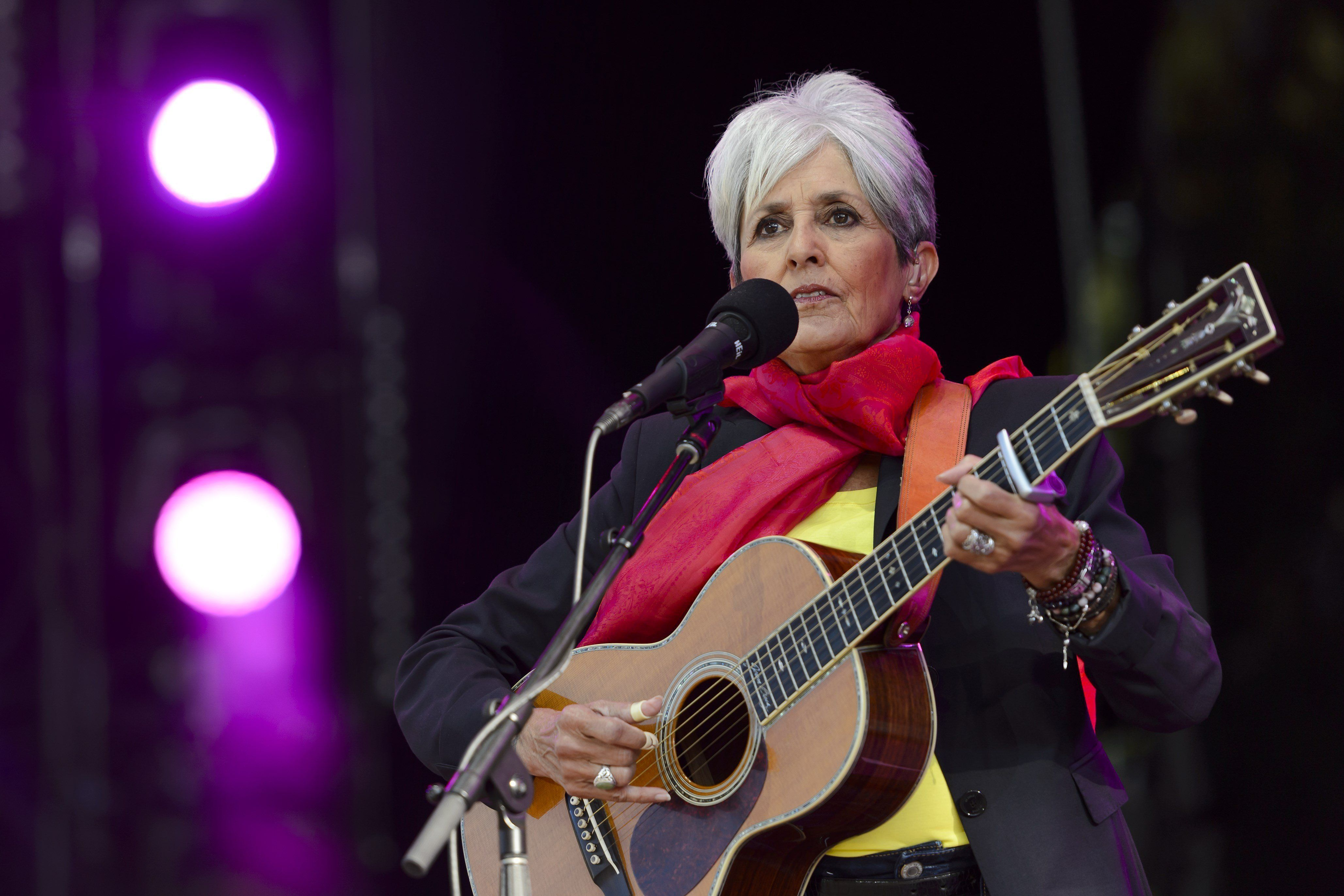 US folk singer Joan Baez performs during the 40th Paleo Festival Nyon on July 25, 2015 in Nyon, the biggest open-air festival in Switzerland and one of Europe's major musical events. AFP PHOTO / FABRICE COFFRINI        (Photo credit should read FABRICE COFFRINI/AFP/Getty Images)
