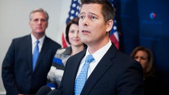 UNITED STATES - NOVEMBER 18: Rep. Sean Duffy, R-Wisc., conducts a news conference after a meeting of House Republicans in the Capitol, November 18, 2014. House Majority Leader Kevin McCarthy, R-Calif., Cathy McMorris Rodgers, R-Wash., and Lynn Jenkins, R-Kan., right, also attended. (Photo By Tom Williams/CQ Roll Call)