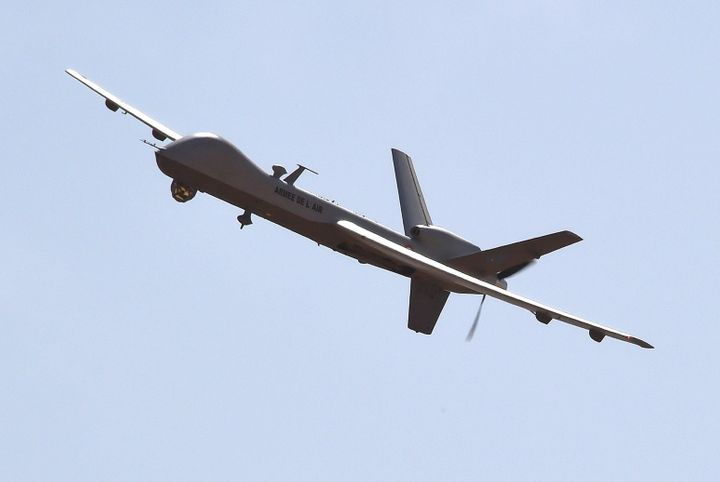 A US-made Reaper drone flies over Nigerien military airport Diori Hamani in Niamey in January 2015