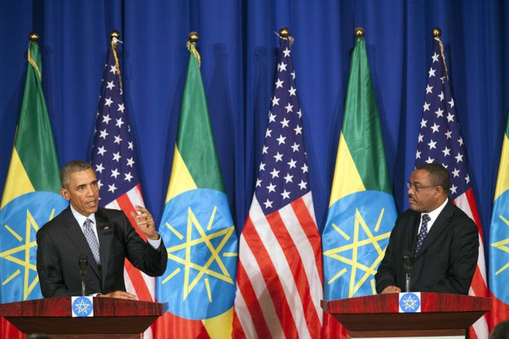 Obama at a press conference with Ethiopian Prime Minister Hailemariam Desalegn during a visit Ethiopia last July.