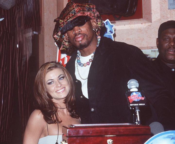 Carmen Electra and Dennis Rodman in 1999 at a press conference at Planet Hollywood in Beverly Hills.
