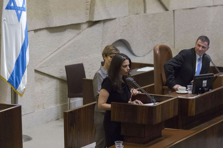 Ayelet Shaked, Israel's Justice Minister, seen here speaking on the Knesset floor, has introduced a controversial bill that w
