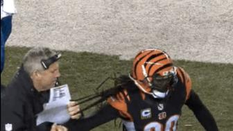 Steelers coach Mike Munchak grabs a whole handful of Bengals safety Reggie Nelson's hair. FLAG!