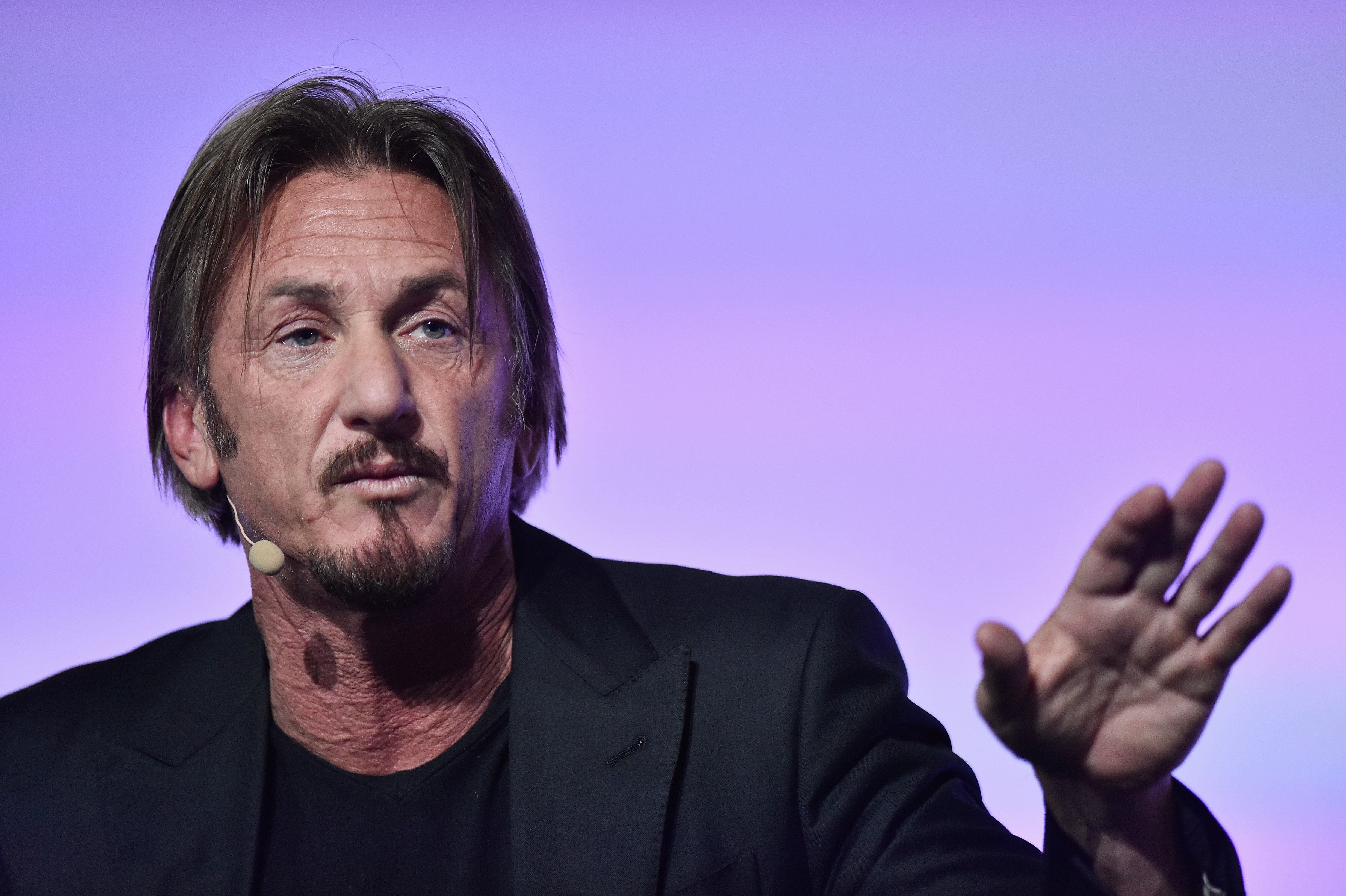 PARIS, FRANCE - DECEMBER 05:  Actor Sean Penn makes a speech for the Action Day during the 21st Session Of Conference On Climate Change on December 5, 2015 in Paris, France.  He is invited as the founder of the J/P Haitian Relief Organization.  (Photo by Pascal Le Segretain/Getty Images)
