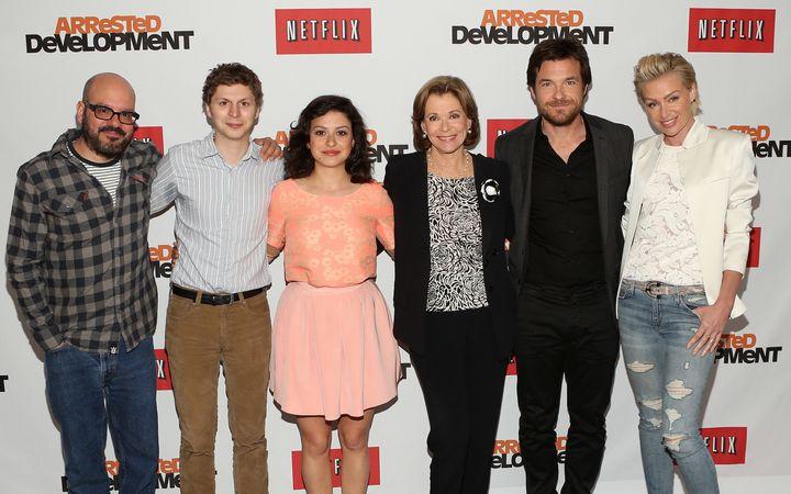 """Arrested Development"" cast members David Cross, Michael Cera, Alia Shawkat, Jessica Walter, Jason Bateman and Portia de Ross"