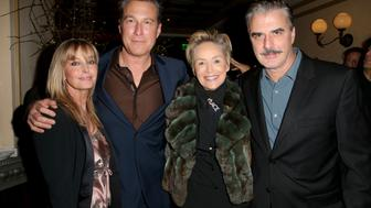 BEVERLY HILLS, CA - JANUARY 08:  (L-R) Actors John Corbett, Bo Derek, Sharon Stone, and Chris Noth attend Ketel One Vodka Celebrates Excellence In Cinema with 'Spotlight' Pre-Golden Globe Celebration at Bouchon on January 8, 2016 in Beverly Hills, California.  (Photo by Imeh Akpanudosen/Getty Images for Ketel One)