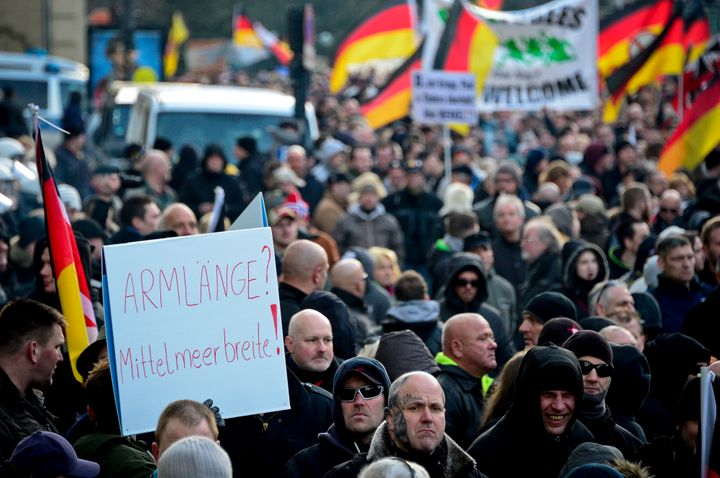 Members of far-right populist group Pegida march in protest. Cologne police received hundreds of complaints of sexual violenc