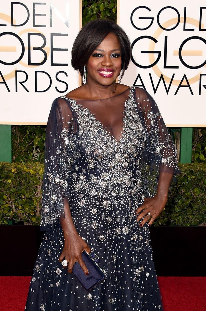 A detailed shot of Viola Davis' dress at the 73rd Annual Golden Globe Awards in Beverly Hills, California.