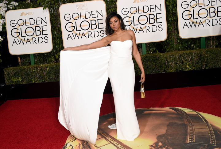 Taraji P. Henson shows off the dramatic train on her Stella McCartney dress at the 73rd Annual Golden Globe Awards in Beverly Hills, California.