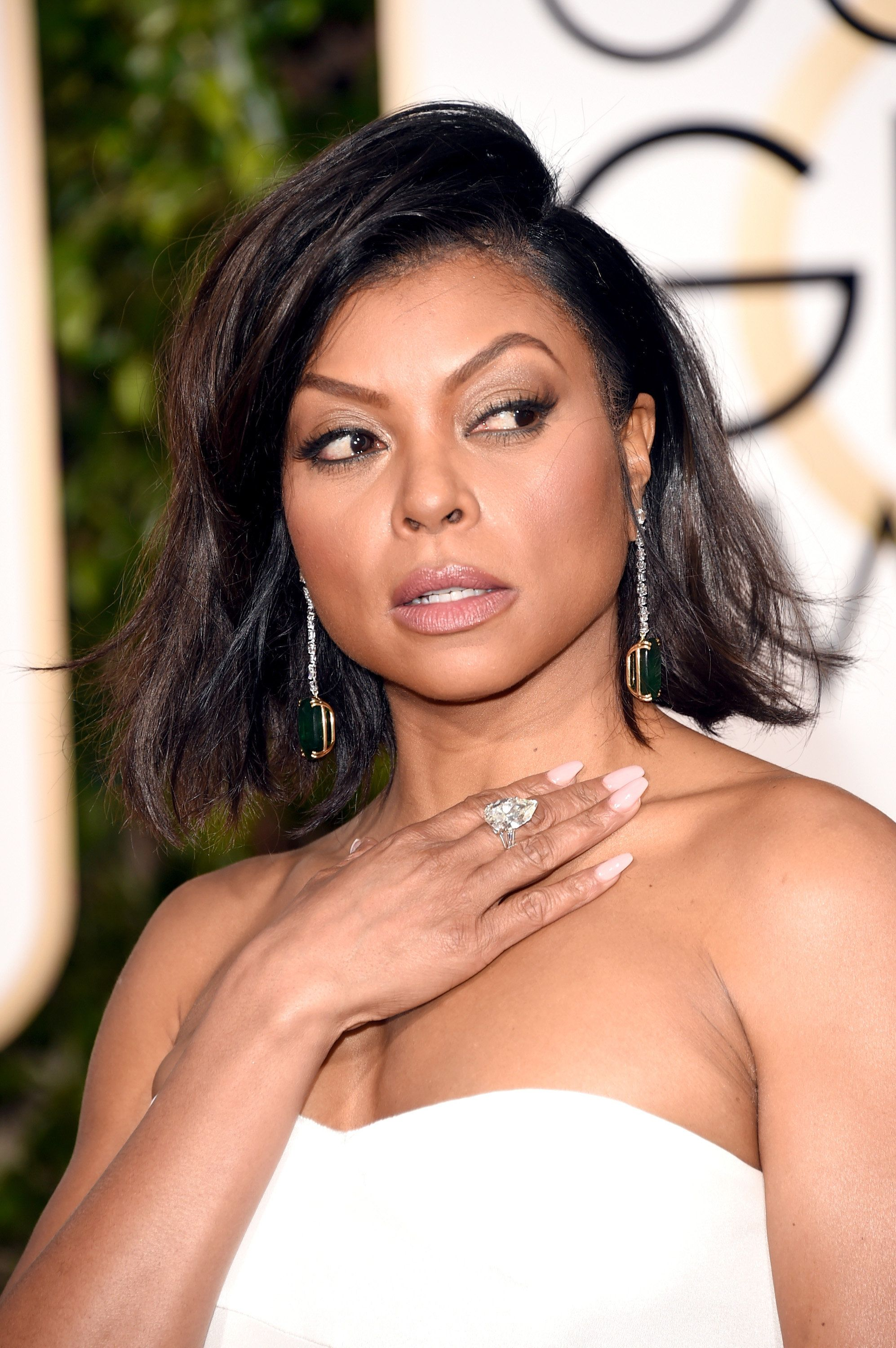 Taraji P. Henson shows off her statement earrings at the 73rd Annual Golden Globe Awards in Beverly Hills, California.