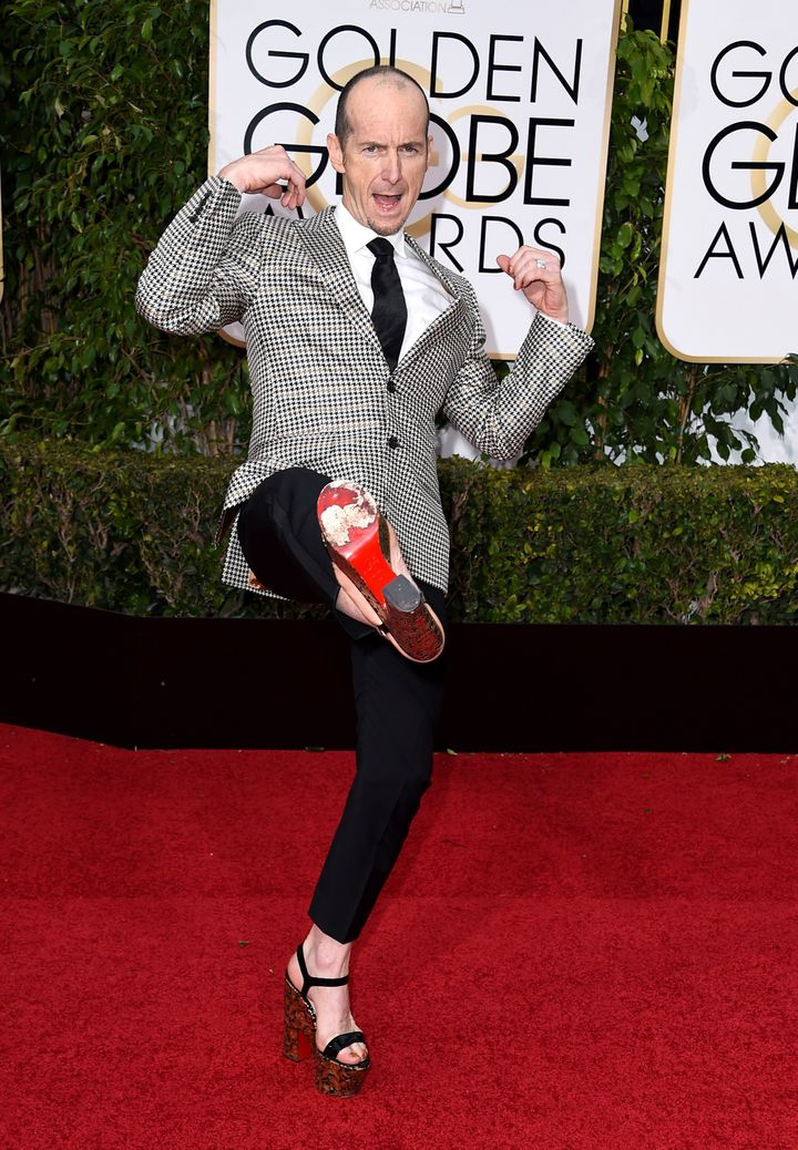 Denis O'Hare strikes a pose at the 73rd Annual Golden Globe Awards in Beverly Hills, California.