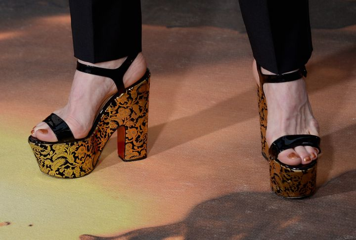 Denis O'Hare's platform heels at the 73rd Annual Golden Globe Awards in Beverly Hills, California.