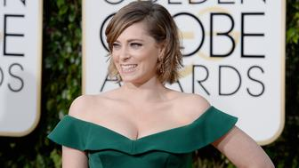 BEVERLY HILLS, CA - JANUARY 10:  73rd ANNUAL GOLDEN GLOBE AWARDS -- Pictured: Actress Rachel Bloom arrives to the 73rd Annual Golden Globe Awards held at the Beverly Hilton Hotel on January 10, 2016.  (Photo by Kevork Djansezian/NBC/NBCU Photo Bank via Getty Images)