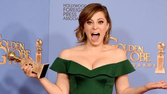 BEVERLY HILLS, CA - JANUARY 10:  Actress Rachel Bloom, winner of the award for Best Performance by an Actress in a Television Series - Musical or Comedy for 'Crazy Ex-Girlfriend,' poses in the press room during the 73rd Annual Golden Globe Awards held at the Beverly Hilton Hotel on January 10, 2016 in Beverly Hills, California.  (Photo by Steve Granitz/WireImage)
