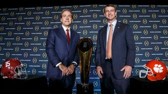 SCOTTSDALE, AZ - JANUARY 10: Head Coach Nick Saban of the Alabama Crimson Tide and Head Coach Dabo Swinney of the Clemson Tigers pose for the media after the Head Coaches Press Conference before the College Football Playoff National Championship at the JW Marriott Camelback Inn on January 10, 2016 in Scottsdale, Arizona. (Photo by Don Juan Moore/Getty Images)