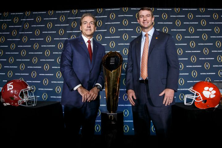 Nick Saban (left) hopes to win a fourth national championship in the last seven seasons, while Clemson's Dabo Swinney (right)
