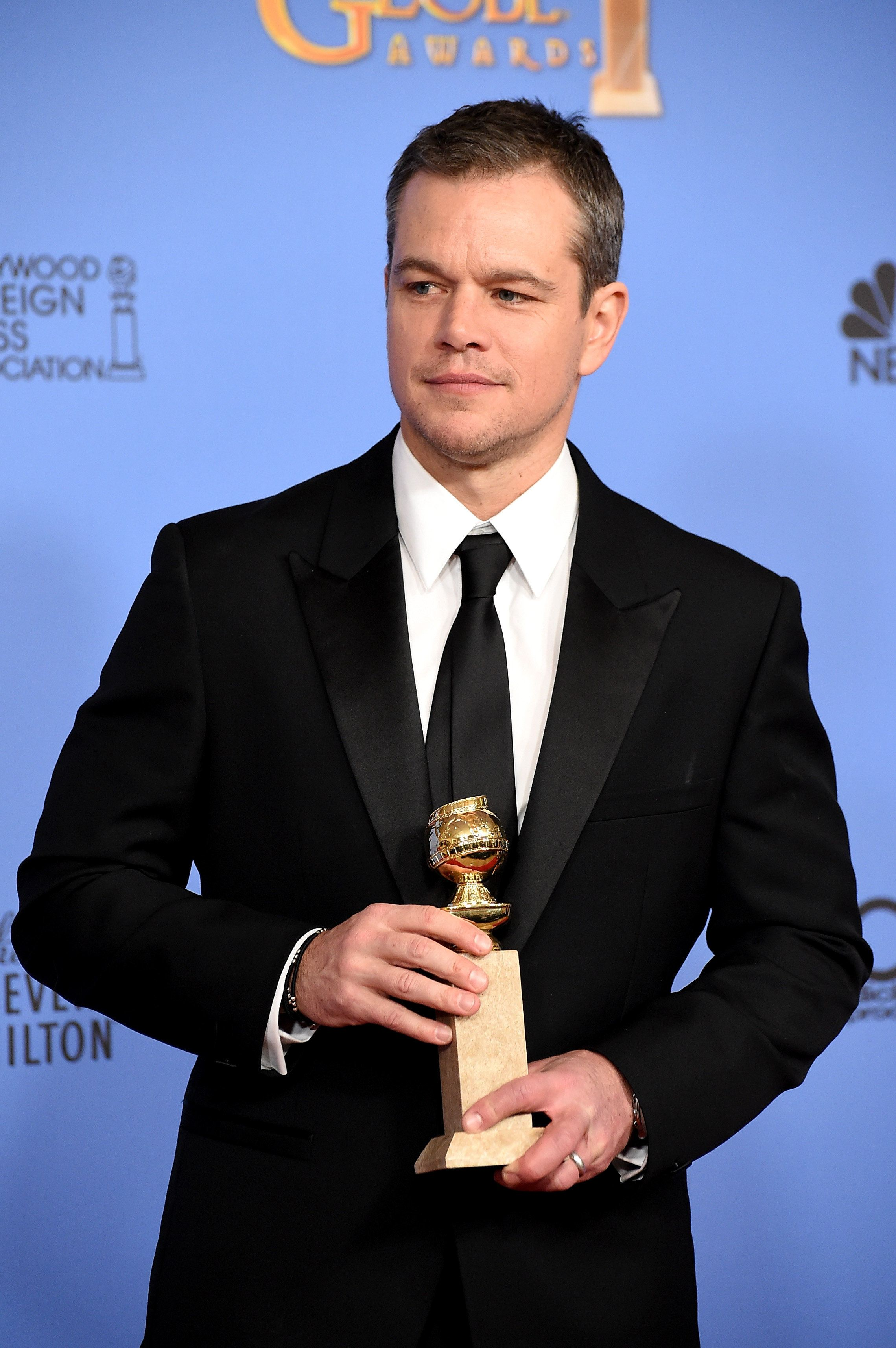 BEVERLY HILLS, CA - JANUARY 10:  Actor Matt Damon, winner of the award for Best Performance by an Actor in a Motion Picture - Musical or Comedy for 'The Martian,' poses in the press room during the 73rd Annual Golden Globe Awards held at the Beverly Hilton Hotel on January 10, 2016 in Beverly Hills, California.  (Photo by Steve Granitz/WireImage)
