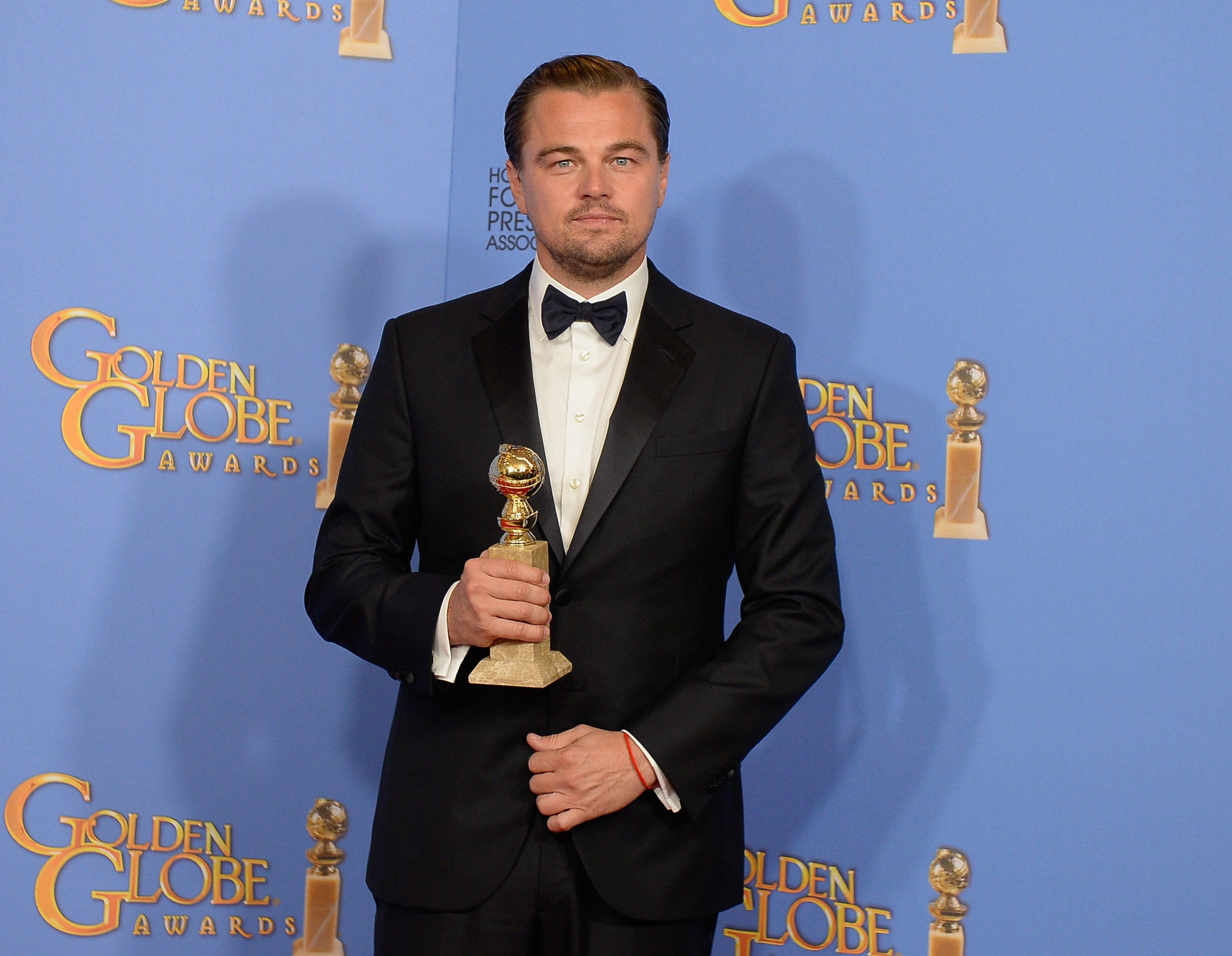 BEVERLY HILLS, CA - JANUARY 10:  73rd ANNUAL GOLDEN GLOBE AWARDS -- Pictured: Actor Leonardo DiCaprio, winner of the award for Best Performance by an Actor in a Motion Picture - Drama for 'The Revenant', poses in the press room at the 73rd Annual Golden Globe Awards held at the Beverly Hilton Hotel on January 10, 2016.  (Photo by Kevork Djansezian/NBC/NBCU Photo Bank via Getty Images)