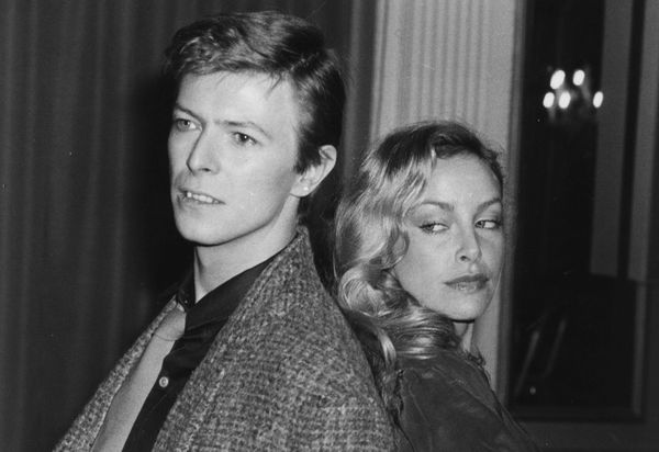 British rock singer David Bowie with American-born actress Sydne Rome.