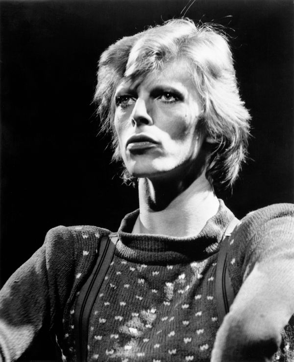 Musician David Bowie performs onstage during his 'Diamond Dogs' tour in June 1974.