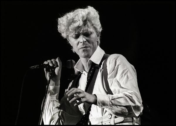 David Bowie performs on stage on the Serious Moonlight Tour at Feijenoord Stadion, de Kuip, Rotterdam, Netherlands, in 1