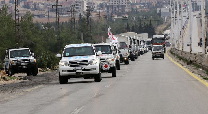 An aid convoy headed for Madaya, a Syrian town besieged by pro-Syrian government forces, and two other Shi'ite villages encir