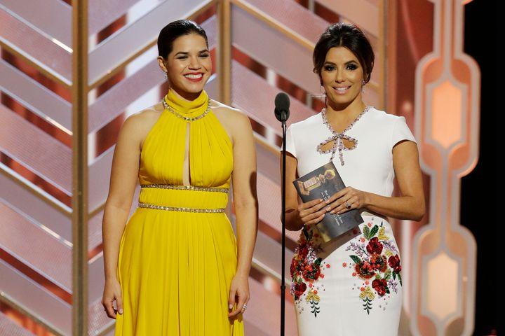 Actresses America Ferrera and Eva Longoria are seen presenting the Golden Globe award forBest Actor in a TV Drama Sunda