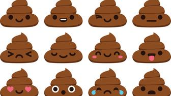 Set of 12 cute poop emoticons in modern flat vector style.