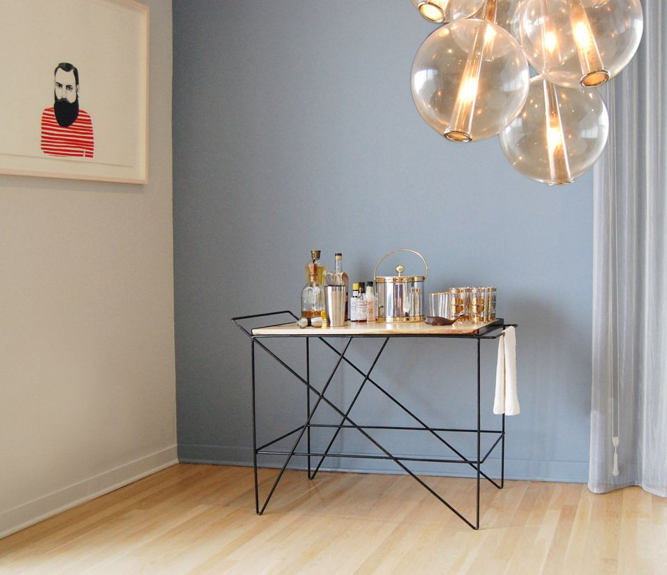 """There are many bar carts on Etsy, both vintage and modern, but we like the <strong><a href=""""https://www.etsy.com/listing/2159"""