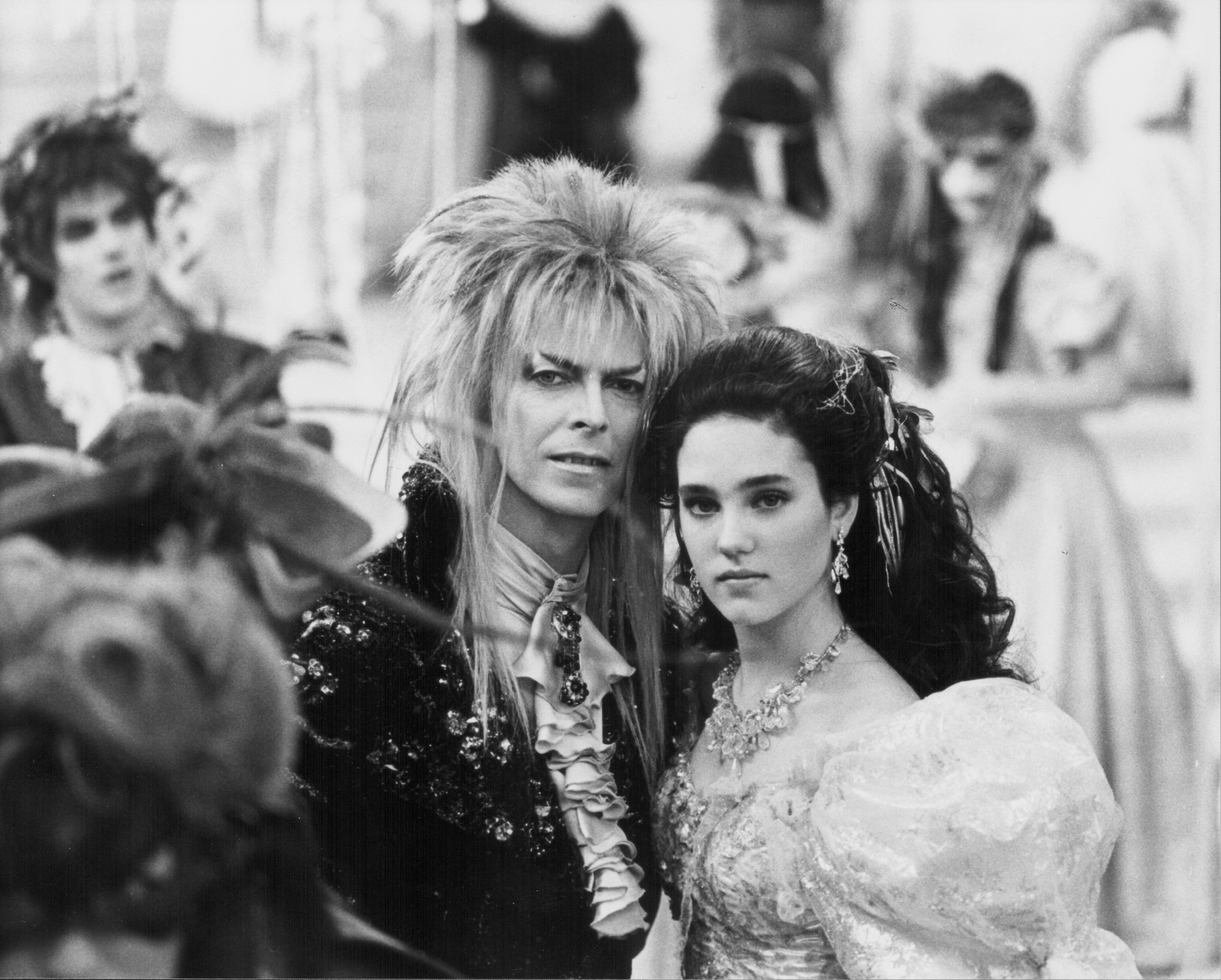 Actors David Bowie and Jennifer Connelly in a scene from the movie 'Labyrinth', 1986. (Photo by Stanley Bielecki Movie Collection/Getty Images)