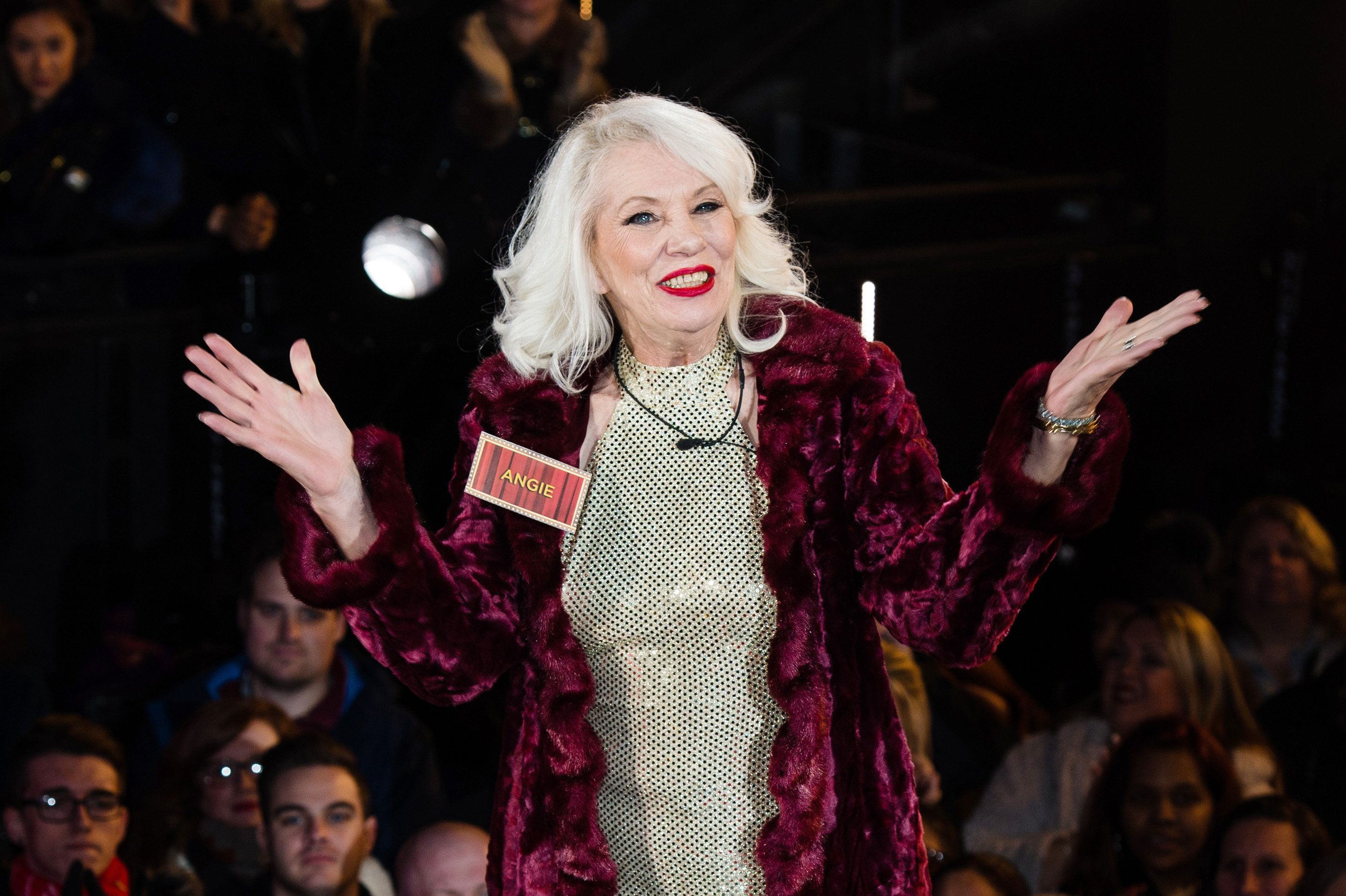BOREHAMWOOD, ENGLAND - JANUARY 05:  Angie Bowie enters the Celebrity Big Brother House at Elstree Studios on January 5, 2016 in Borehamwood, England.  (Photo by Jeff Spicer/Getty Images)