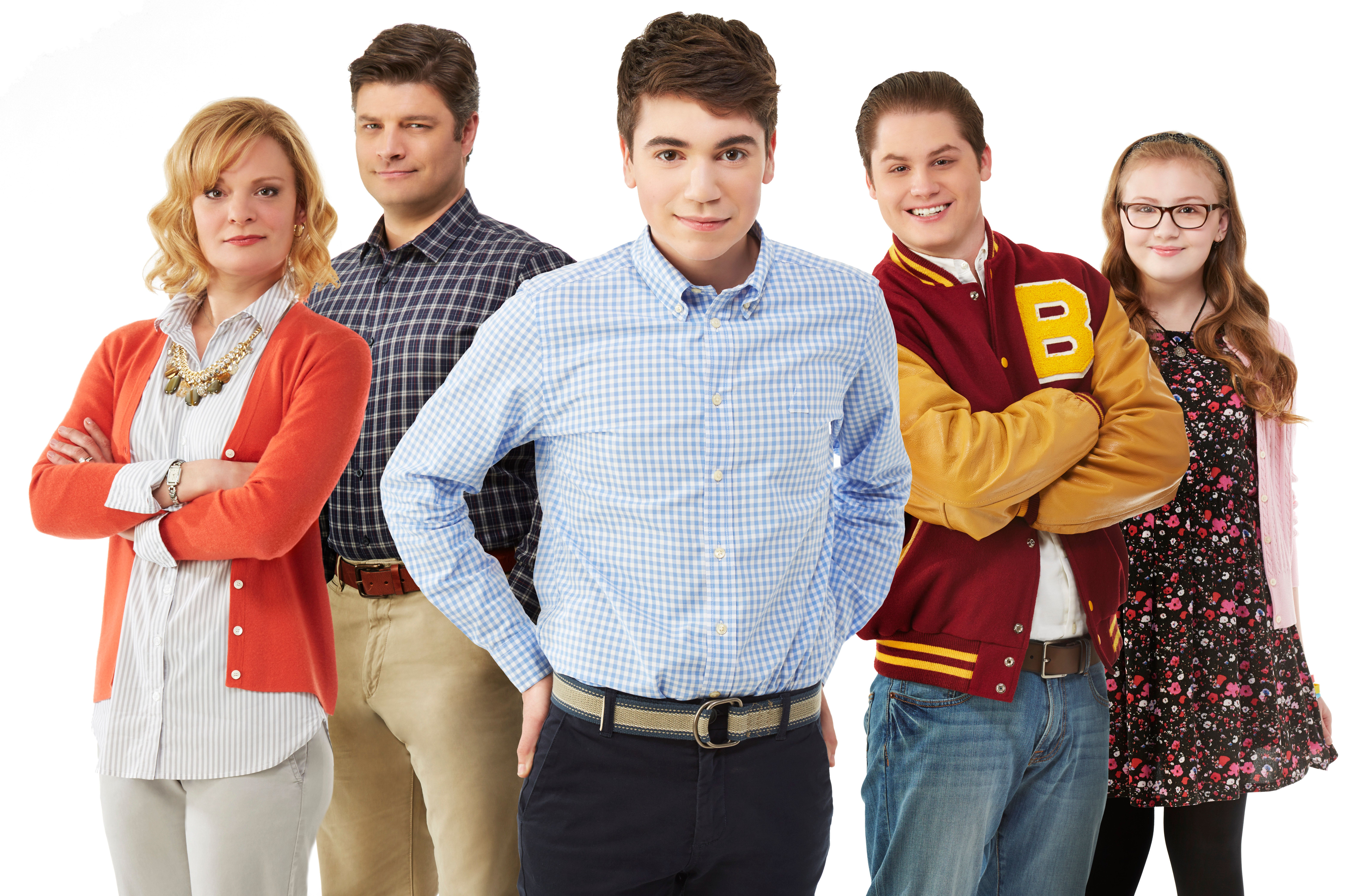 THE REAL O'NEALS - ABC's 'The Real O'Neals' stars Martha Plimpton as Eileen, Jay R. Ferguson as Pat, Noah Galvin as Kenny, Matthew Shively as Jimmy, Bebe Wood as Shannon and Mary Hollis Inboden as Jodi. (Photo by Kevin Foley/ABC via Getty Images)