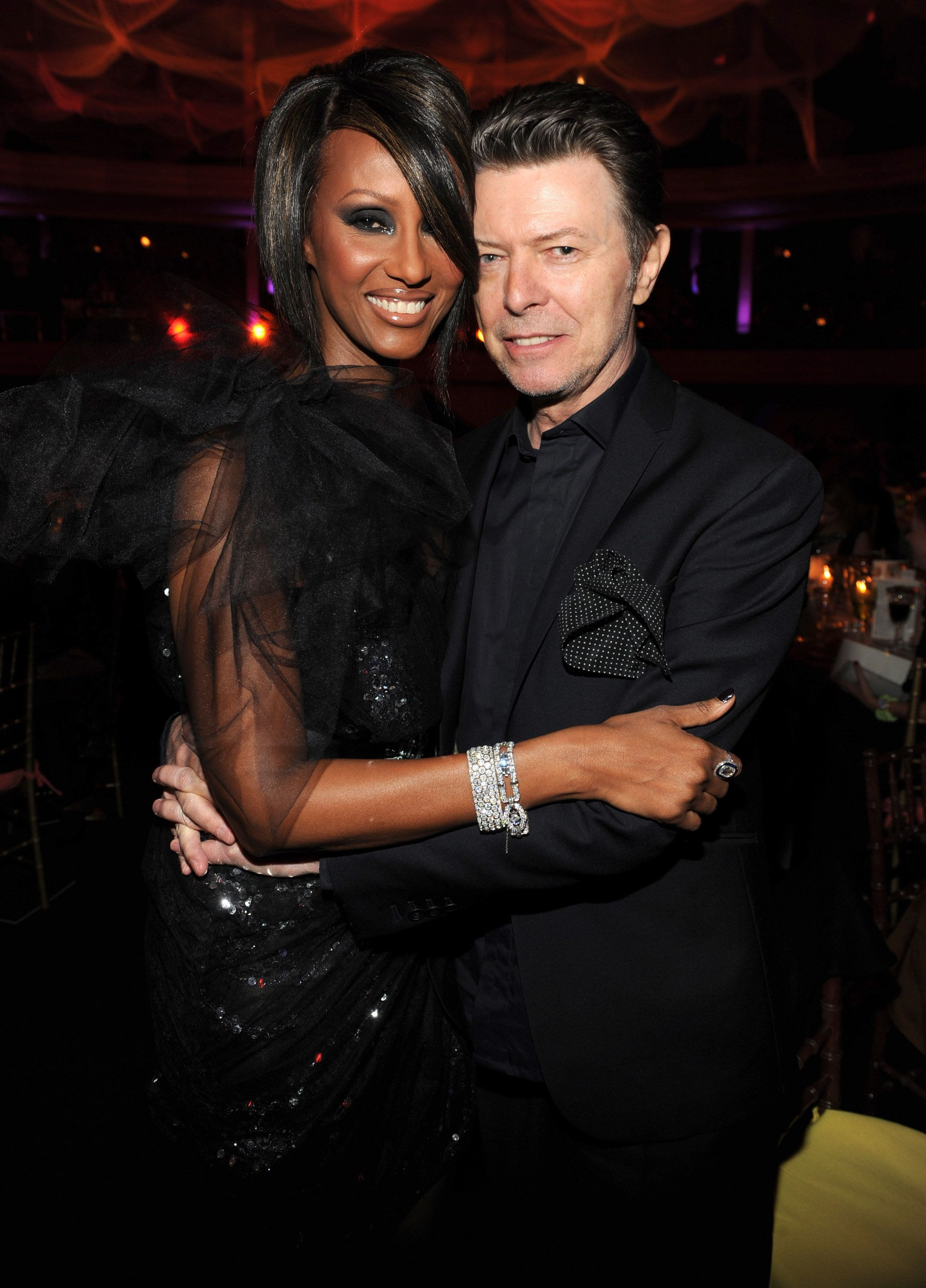 *Exclusive* Iman and David Bowie at Hammerstein Ballroom during Keep A Child Alive's 6th Annual Black Ball hosted by Alicia Keys and Padma Lakshmi on October 15, 2009 in New York City. ***Exclusive*** (Photo by Kevin Mazur/WireImage)