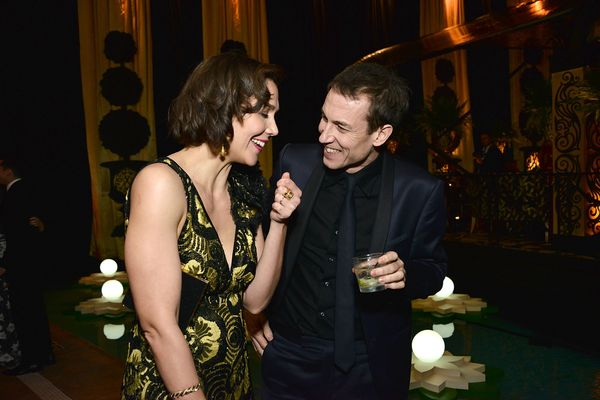 LOS ANGELES, CA - JANUARY 10:  Maggie Gyllenhaal and Tobias Menzies attend HBO's post 2016 Golden Globe Awards party at Circa