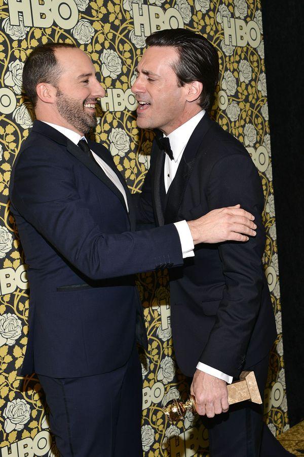 LOS ANGELES, CA - JANUARY 10:  Tony Hale and Jon Hamm attend HBO's post 2016 Golden Globe Awards party at Circa 55 Restaurant