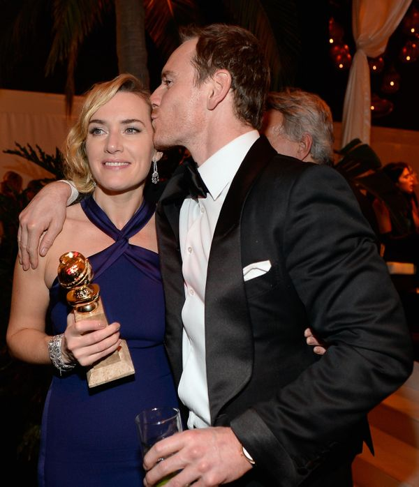 BEVERLY HILLS, CA - JANUARY 10:  73rd ANNUAL GOLDEN GLOBE AWARDS --  Pictured: Actors Kate Winslet and Michael Fassbender att