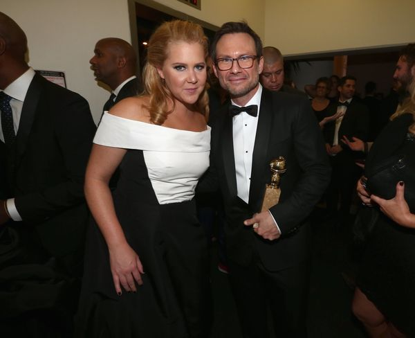 BEVERLY HILLS, CA - JANUARY 10:  73rd ANNUAL GOLDEN GLOBE AWARDS --  Pictured: (l-r) Actors Amy Schumer and Christian Slater