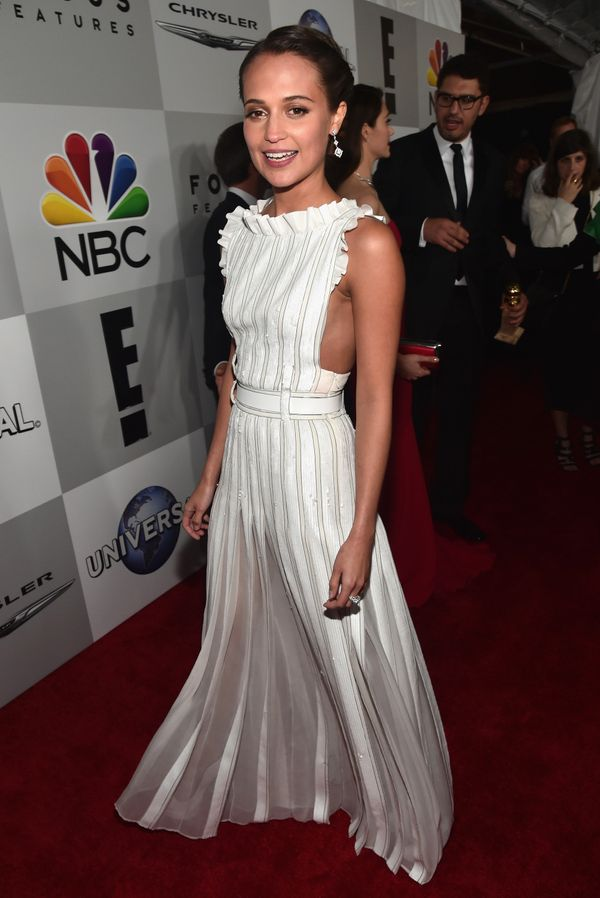 BEVERLY HILLS, CA - JANUARY 10:  73rd ANNUAL GOLDEN GLOBE AWARDS --  Pictured: Actress Alicia Vikander attends NBCUniversal's