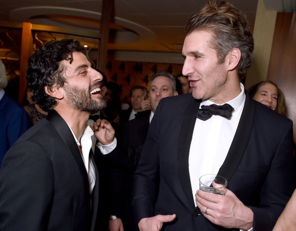 BEVERLY HILLS, CA - JANUARY 10:  Actor Oscar Isaac and writer David Benioff  at HBO's Official Golden Globe Awards After Part