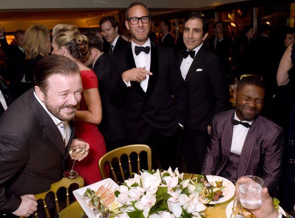 BEVERLY HILLS, CA - JANUARY 10:  Host Ricky Gervais (L) and actor David Oyelowo (R) attend HBO's Official Golden Globe Awards