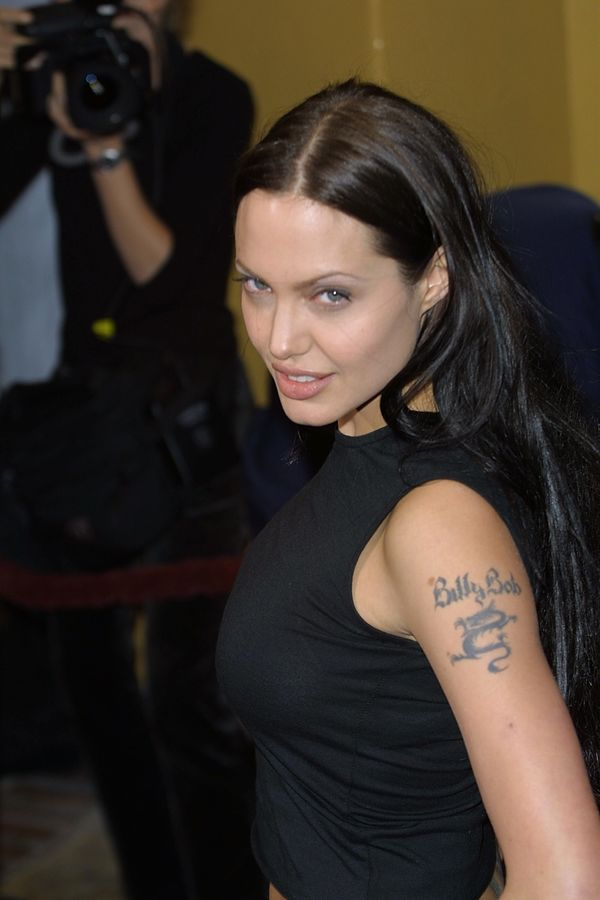 390344 06: Actress Angelinaa Jolie arrives at the world premiere of the film 'Lara Croft: Tomb Raider' June 11, 2001 in Westw