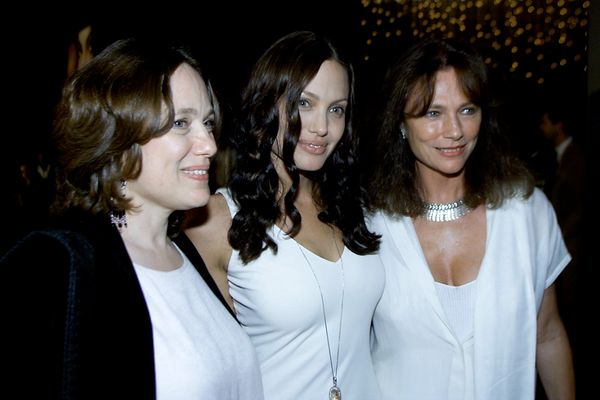 Center, cast member Angelina Jolie with her Mother, left and actress Jacqueline Bisset before the 'Original Sin' premiere hel