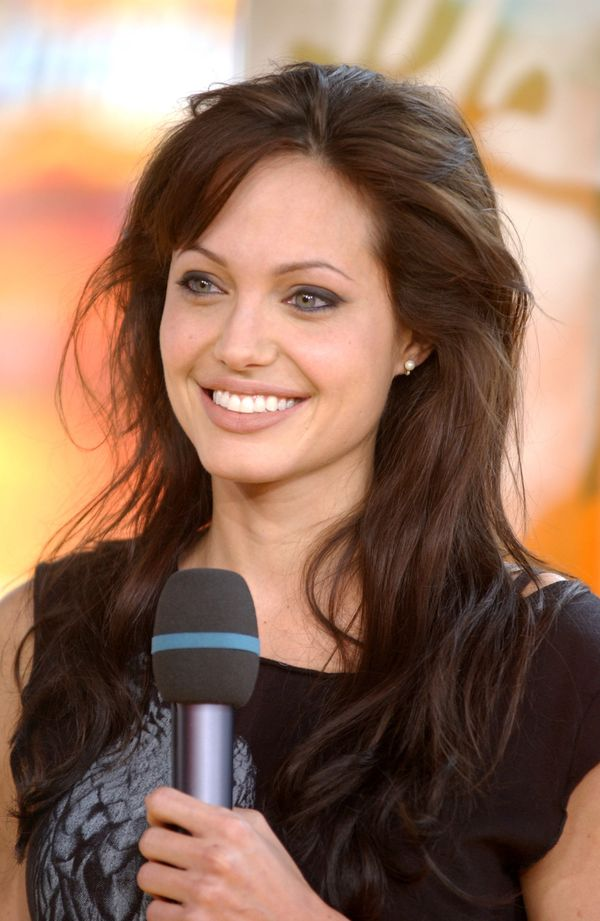 Angelina Jolie during Angelina Jolie Visits MTV's 'TRL' to Promote Her New Film 'Lara Croft Tomb Raider: The Cradle of Life'