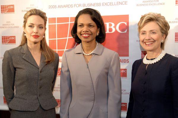 WASHINGTON - SEPTEMBER 28: (L-R) Actor Angelina Jolie, Secretary of State Condoleezza Rice and Senator Hillary Clinton, (D-NY