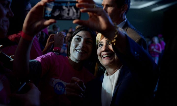 Hillary Clinton takes a selfie with a supporter in New Hampshire.