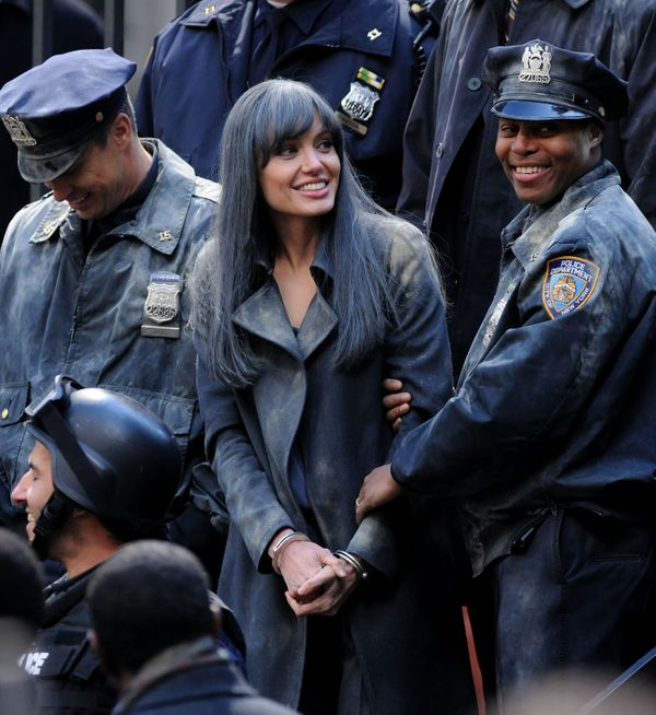 Angelina Jolie films on location for Salt on the streets of Manhattan on March 21, 2009 in New York City. (Photo by James Dev